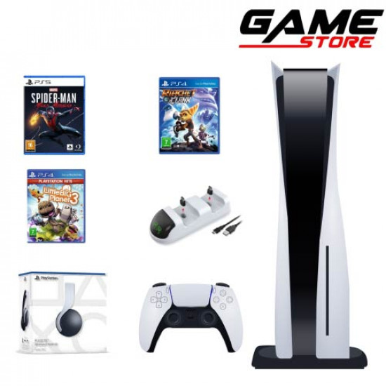 PlayStation 5 + Charging Dock + PlayStation 5 Headset + Spider-Man Miles + Rich Clank + Little Big