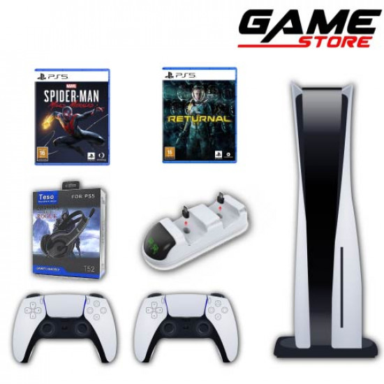PlayStation 5 + Return + Spider-Man Miles + Extra Hand + Hinge Stand + Headset