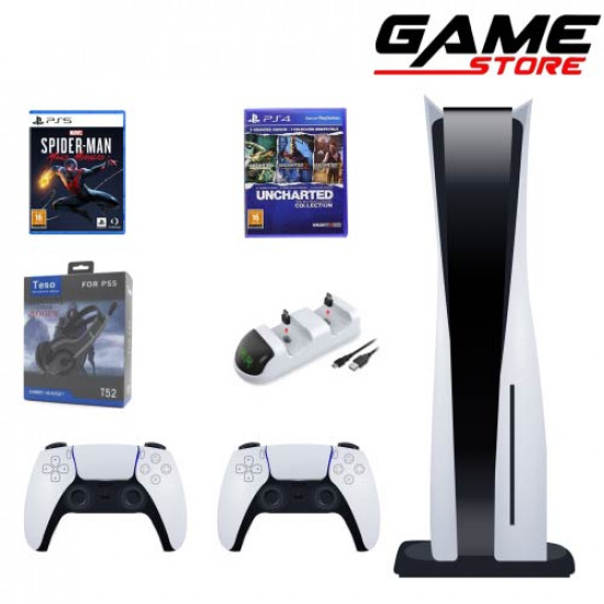PlayStation 5 + Extra Hand + Headset + Charging Dock + Spiderman Miles + Three Uncharted Collection Games